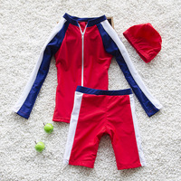 Summer New Kids Swimsuit Quality Boys Swimwear Teenagers Two pieces Blue and Red Infant Bath Suit Children Beachwear 3 15T