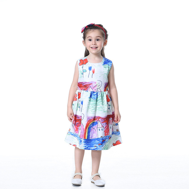 1f6c94f0bb0 Children Girls Cartoon Fashion Pattern Dresses Cute Hand-Painted Prints  Dresses Toddler Girls Summer Breathable