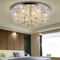 Rodada Luminárias de Teto de Cristal Lâmpadas de Teto Para Sala de estar Da Forma do Aço Inoxidável Três-cor pode ser escurecido Plafondlamp
