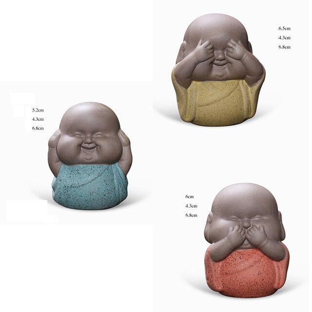 3pcs Mini Buddha Statues Monks Decorative Sculptures Ceramic Figurine India Yoga Home Monks Sculpture Buda Dropshipping 6