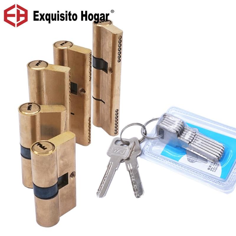 Door Cylinder Biased Lock 65-115mm Cylinder AB Key Anti-Theft Entrance Brass Door Lock Lengthened Core Extended Keys