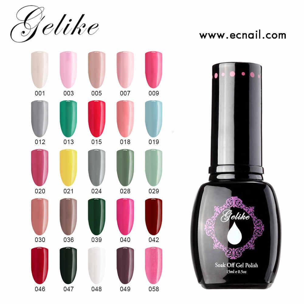 Gelike 15ml באיכות גבוהה ג 'ל לכה לכה אמנות ציפורן DIY 25 צבעים VENALISA לספוג את אורגני חסר ריח אמיילים LED UV ציפורניים ג 'ל