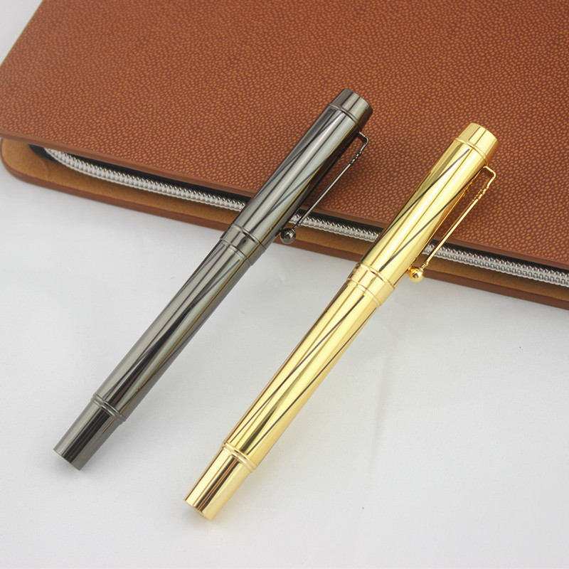 цена на DIKA WEN Metallic gray gold Metal Fountain Pen 0.5mm Nib Medium Gold Trim luxury pen canetas Office School gift box
