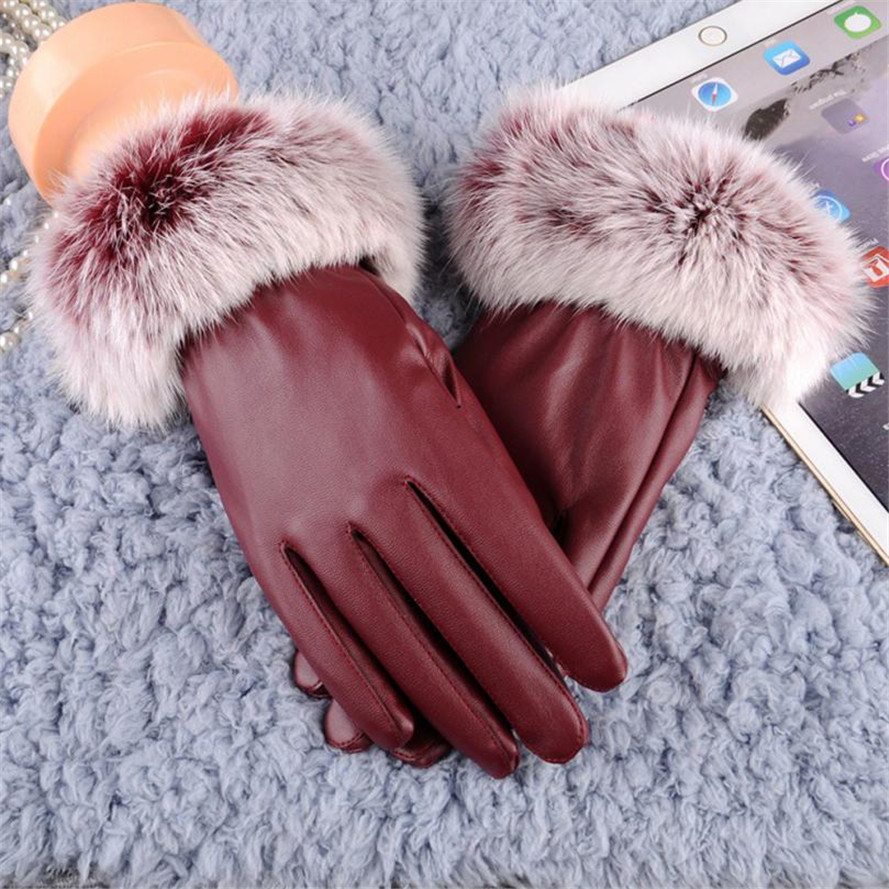 Free Ostrich 2019 Woman Lady Black Pu Leather Gloves Autumn Winter Warm Rabbit Fur Female Gloves Guanti Invernali Donna B0140 Women's Gloves