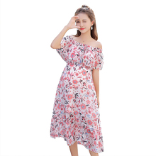 pregnant women summer wear sleeveless stretched ruffles collar chiffon dress maternity high waist floral