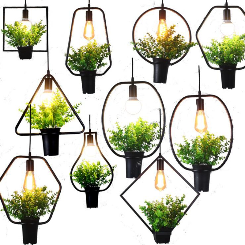 LuKLoy Modern Frame Light Grass Flower Plant Pots Pendant Light Hang Lamp Home Balcony Cafe Living Room Grow Herbs Or Succulents