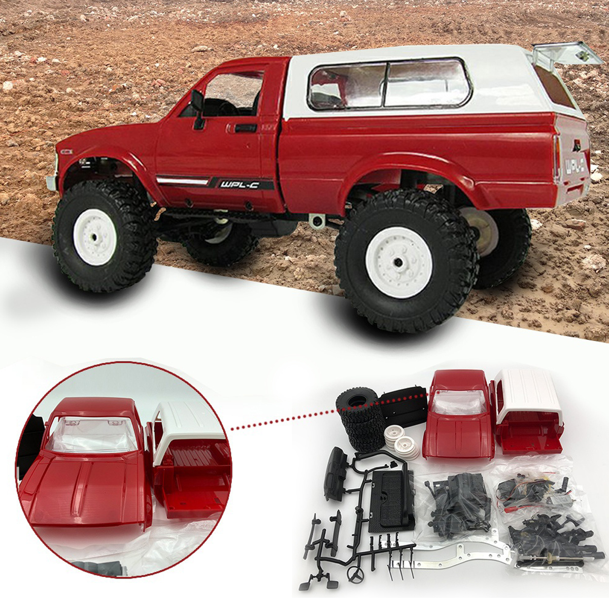 Remote Control Truck DIY Kit C 24 1:16 2.4G 4WD Off Road Rock RC Car Kid Toy Red/Blue Drive Lights High Strength Plastics Light