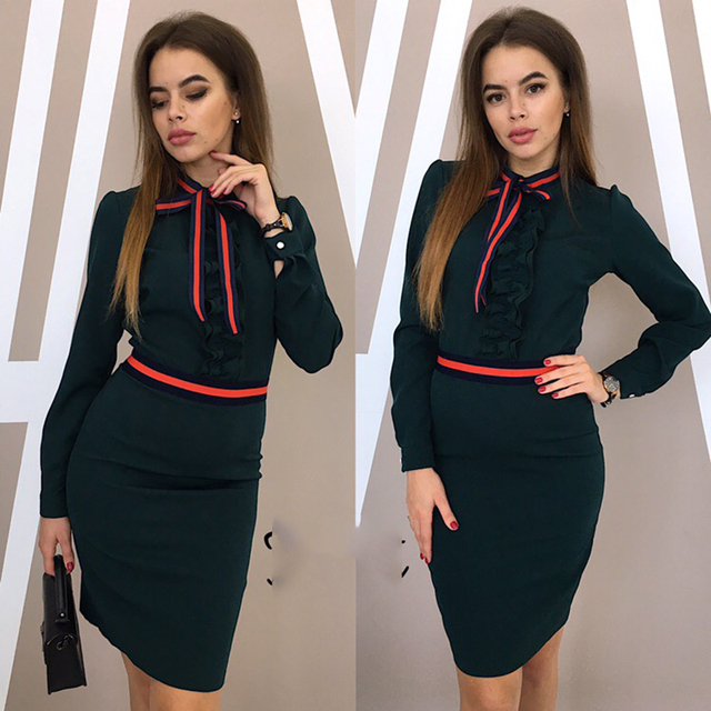 2019 new Women high quality ruffled dress autumn long sleeves elegant vintage dress sexy O-neck party gray pink dress vestidos