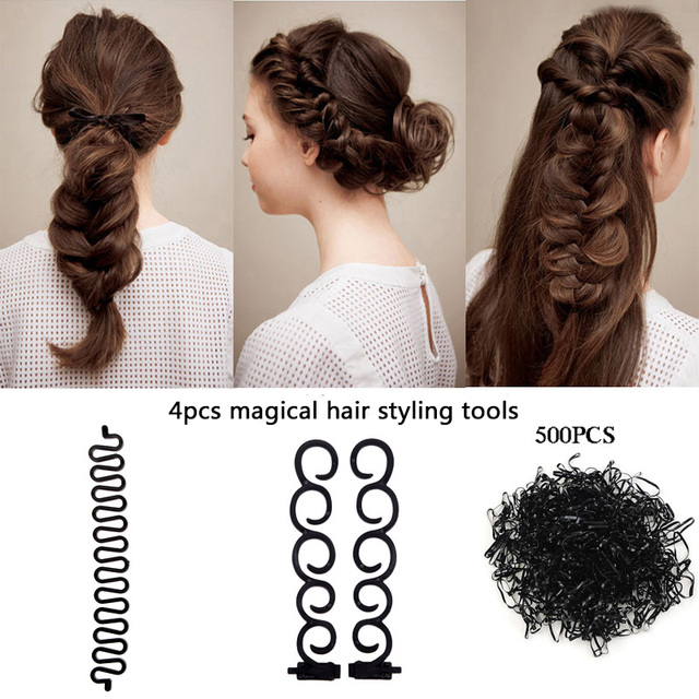 4pcs/Set Women Girls Magic Hair Styling Maker Tools Headbands DIY Ponytail Quick Making Hair Bands Headwear Hair Accessories
