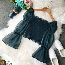 NiceMix Fashion Sexy Ladies Slash Neck Shirts Blouse Transparent Patchwork Chiffon Shirts Casual Ruffles Pleated Office Lady Top(China)