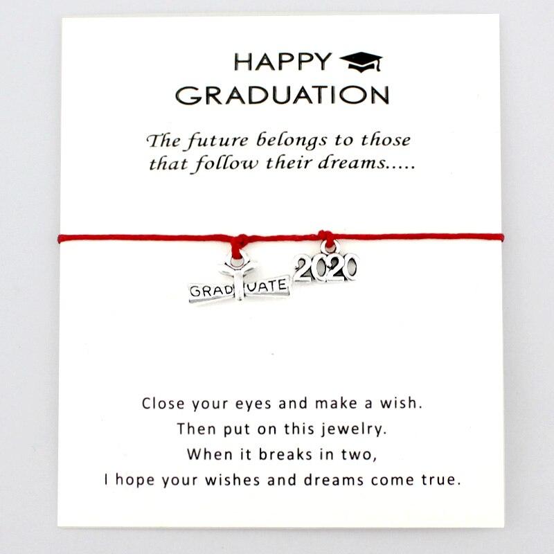 Student Gift Real Leather Wristband Bracelet /& Graduation Cap Charm Graduate