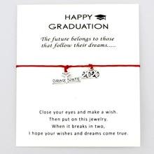 2019 2020 Graduate Graduation Charm Card Adjustable Bracelets Trencher Cap Square College Diploma Women Men Jewelry Gift