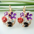 Navachi Bug Ladybug Flower Rose Crystal Yellow Gold Plated  Hoop Earrings Free Shipping SMT2679