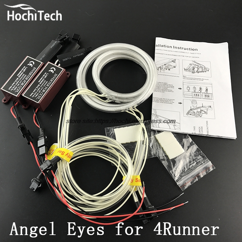 HochiTech ccfl angel eyes kit white 6000k ccfl halo rings headlight for Toyota 4Runner 2006 2007 2008 2009 for uaz patriot ccfl angel eyes rings kit non projector halo rings car eyes free shipping