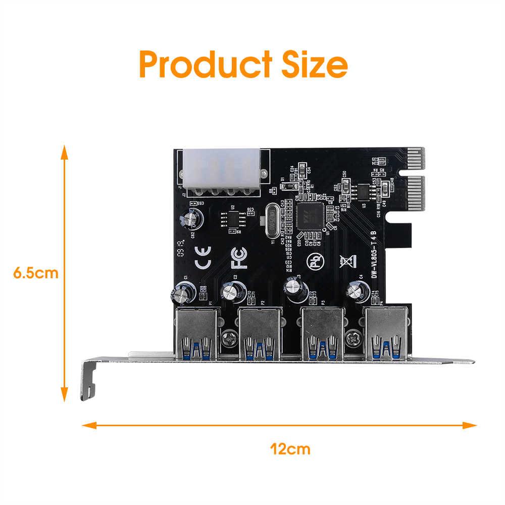 Caliente 4-Puerto USB 3,0 PCI-E Tarjeta de expansión PCI Express, PCIe USB 3,0 Hub Adaptador 4-Puerto USB 3 0 PCI E PCIe Express 1x
