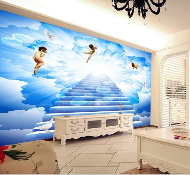 3d wallpaper custom mural non woven wall stickers blue sky for Angel wall mural