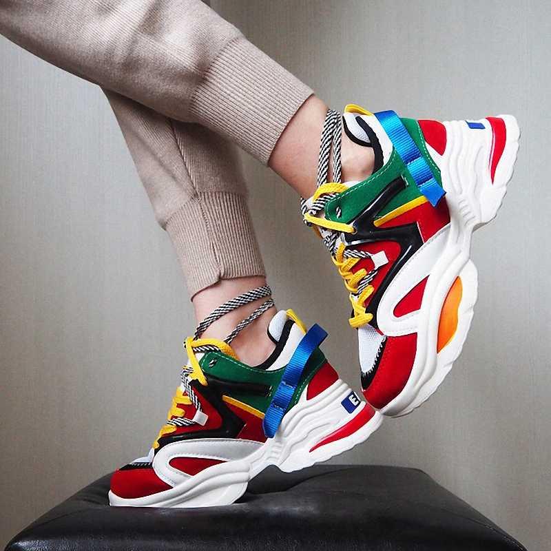 2019 ใหม่สไตล์ผู้หญิงวิ่งรองเท้าเพิ่มขึ้น 6 ซม.INS รองเท้าผ้าใบส้นสูงผู้หญิงความสูงแพลตฟอร์ม Breathable กีฬาเดินหญิง