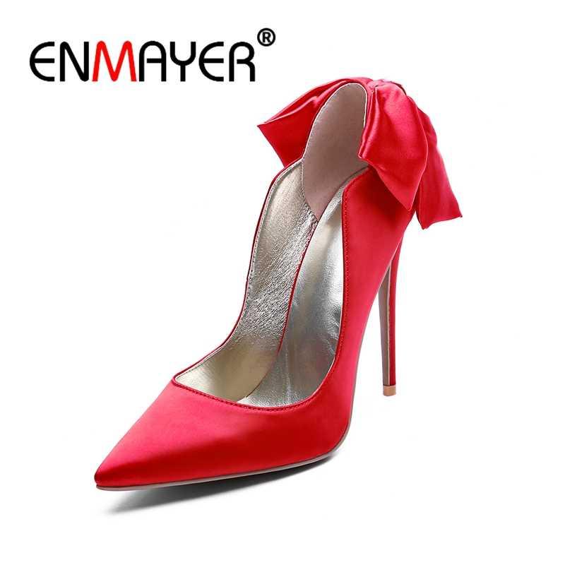 ENMAYER Leke Kadınlar Yüksek Topuklu Ayakkabılar Kadın Yaz Büyük boy 34-43 Sivri Burun Stiletto Ince Topuklu parti ayakkabıları papyon CR707