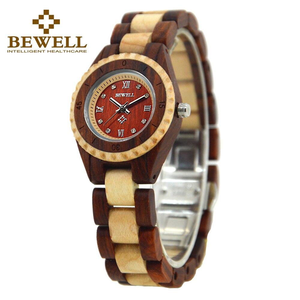 BEWELL 2017 new watch women Wood Watch Women Rhinestone Small Dial Quartz Watches Relogio Feminino men watch 128AL in Quartz Watches from Watches