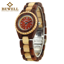 купить BEWELL  2017 new watch women Wood Watch Women Rhinestone Small Dial Quartz Watches  Relogio Feminino men watch 128AL  по цене 2334.3 рублей