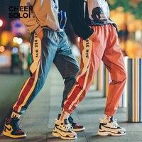 CheerSolo Streetwear Sweatpants Women Color Block Loose Sweat Pants Rock Print Ankle Trousers Women Clothes 2018