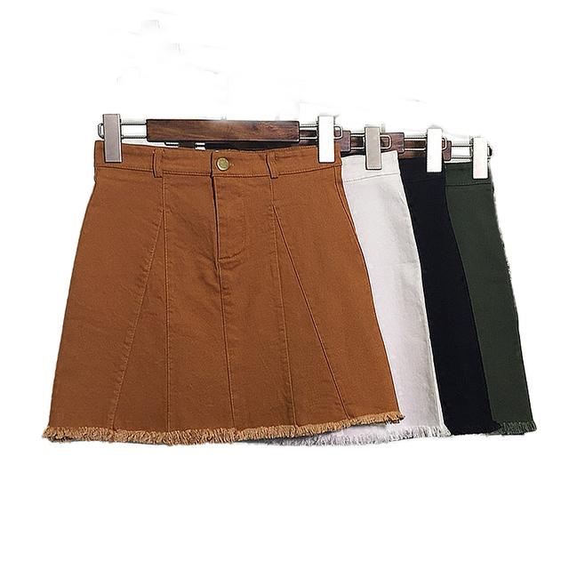 Moda mini mujeres de la falda de cintura alta Una Línea de faldas de jean para mujer plus size vintage caqui blanco mini falda faldas mujer jupe saias