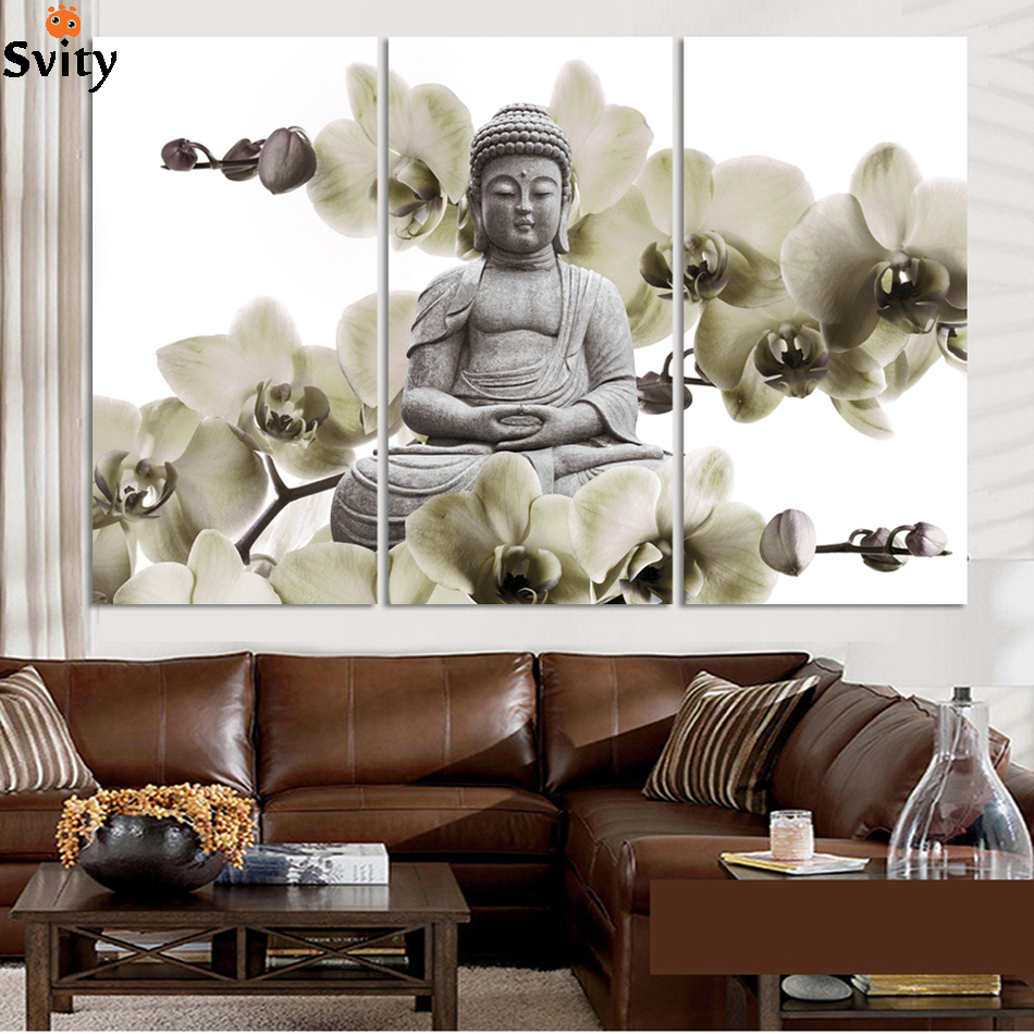 HD Buddha CANVAS PRINTS Modern 3 Panels Unframed Painting Home Decoration  Living Room Bedroom Decor Wall Fine Art No Frame In Painting U0026 Calligraphy  From ...