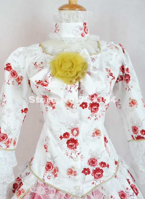 Princesse Gothique Imprimé Bal Noir Neige De Blanc Robes Renaissance Lolita Victorienne Et Rose Fille Jeune Élégante xqrRwtqI