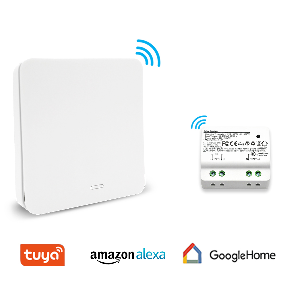 Smart Light Switch with RF Wireless Switch and WiFi Relay 3 Ways to Control light lamps, Amazon Alexa Google Home Voice Control
