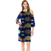 2018 Fashion Leaking Shoulde African print Women Dresses Made Dashiki Print Clothes African Clothing Dress Party Customized