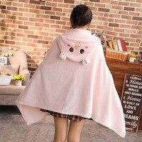Harajuku Style Pink Cloak Kawaii Girls Pig Cosplay Cape Anime Animal Halloween Costume Homewear Cloaks Blanket Hooded Hoodie