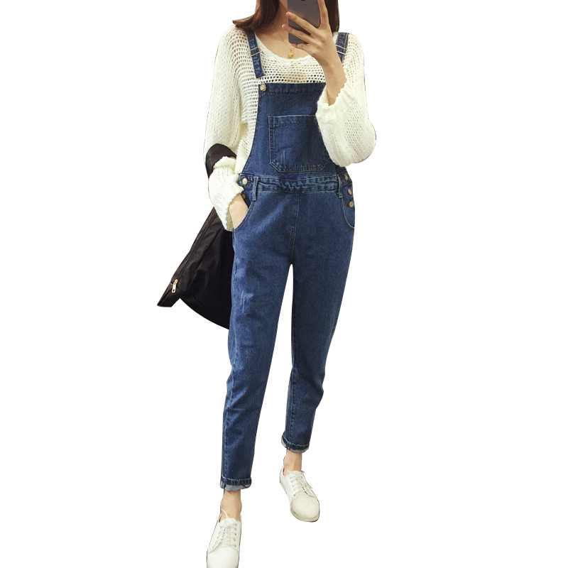 Women Girls Casual Vintage Wash Straight Leg Loose big size Denim Overall Suspender Jeans Trousers Pants vintage blue women casual vintage wash straight leg loose fat girls trousers pants denim overall suspender jeans