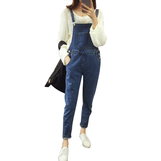686565968227 Women Girls Casual Vintage Wash Straight Leg Loose big size Denim Overall  Suspender Jeans Trousers Pants
