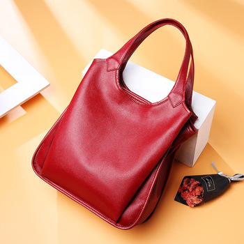 Fashion famous brand lychee Genuine Leather women handbags bucket large capacity top layer cowhide ladies shopping bag