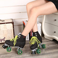 green double skates adult males and females Breathable figure skating rollers leather sepcial brake and easy balance