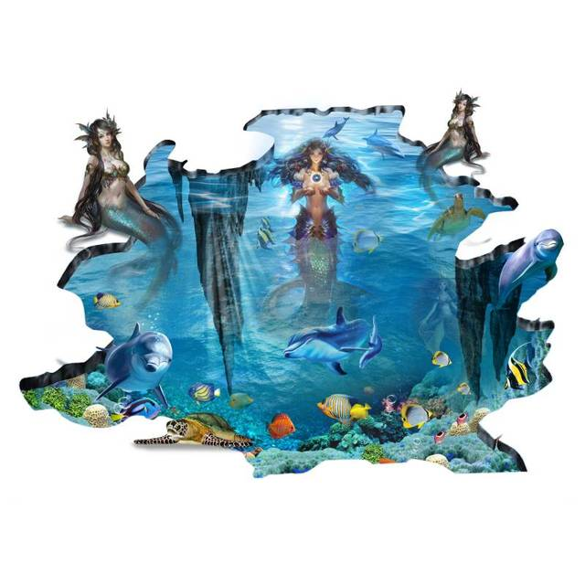 Unframed Canvas Prints Decoration Painting On The Wall The 3D Mermaid Home  Decor Wall Pictures For Living Room Wall Art Gift