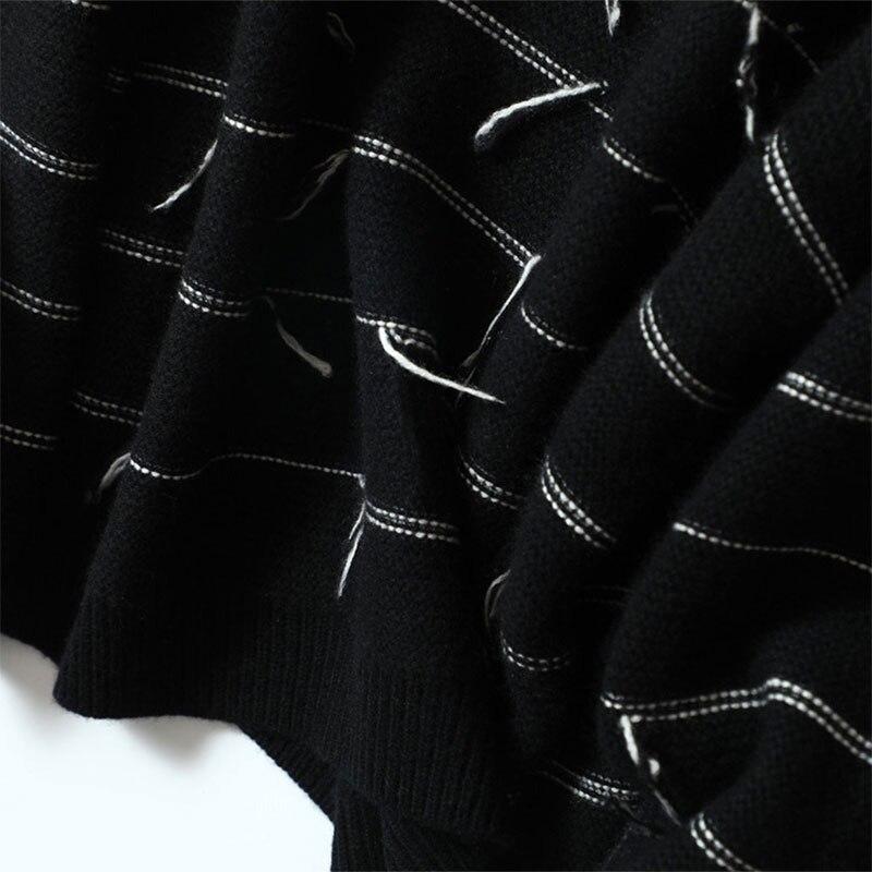 Noir Bande 2018 Femmes Taille Blouson Hauts En Femme Décontracté Grande blanc Tricoté Cashmere Shuchan Pull Femelle Lâche Pour 100 nY7X4TO