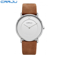 CRRJU White Black Round Dial Mens Watches Genuine Leather Men Business Watch Simple Pointer Male Quartz