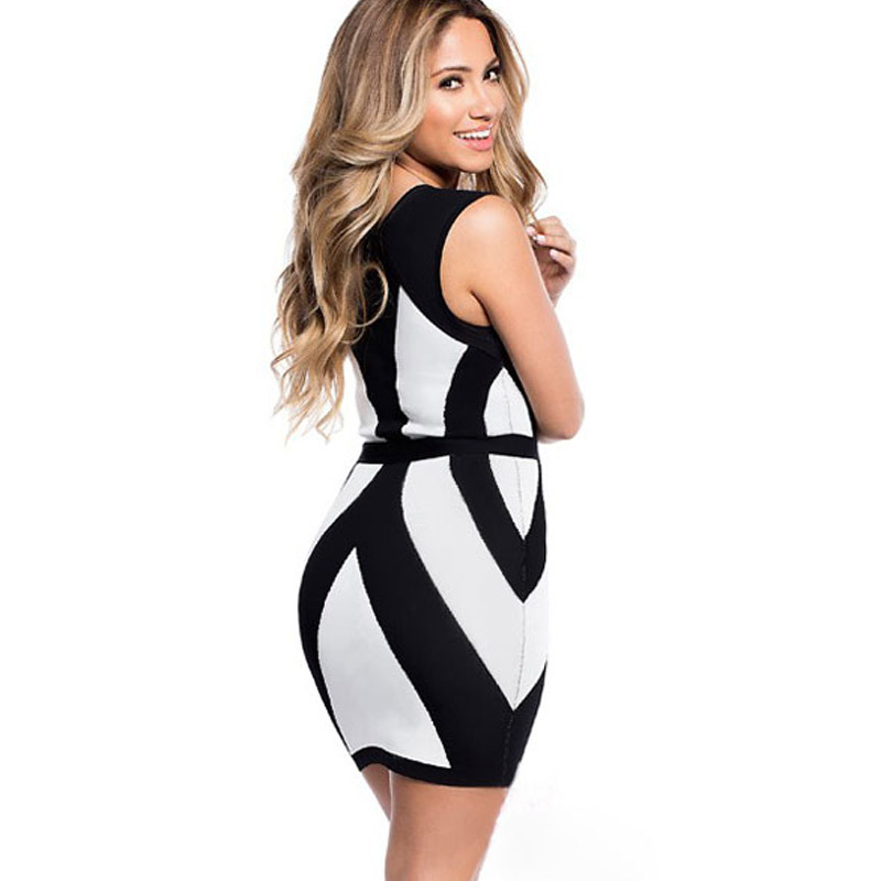 602cea6772e Scenery beauty New Arrival Fashion Sexy Ladies Black White Curvy Lines  Thick Straps Bodycon Dress في Scenery beauty New Arrival Fashion Sexy  Ladies Black ...