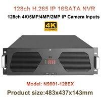 H.265/H.264 128Ch CCTV NVR Audio Support 4K/5MP/3MP/2MP/960P IP Camera Record 3U 16HDD Ports 16Ch Alarm Input Onvif P2P APP View