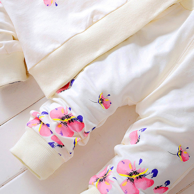 2-Piece Colorful Floral Pattern Long Sleeve Top with Long Pants Set for Baby and Toddler Girl