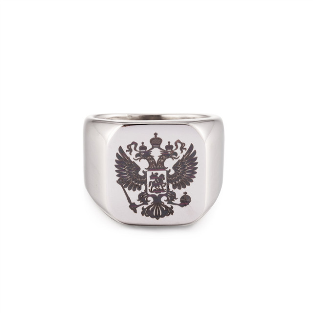 Men Russian Signet Coat of Arms Stainless Steel Ring