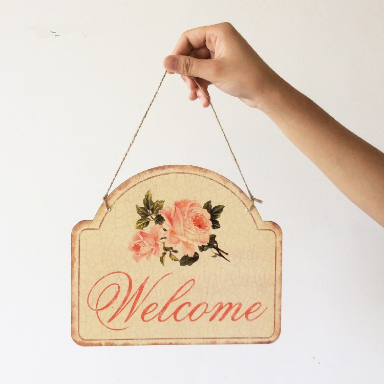 welcome signs bar cafe restaurant home decoration antique poster wall chart retro public places decorative plates wall sticker - Decorative Wall Plates