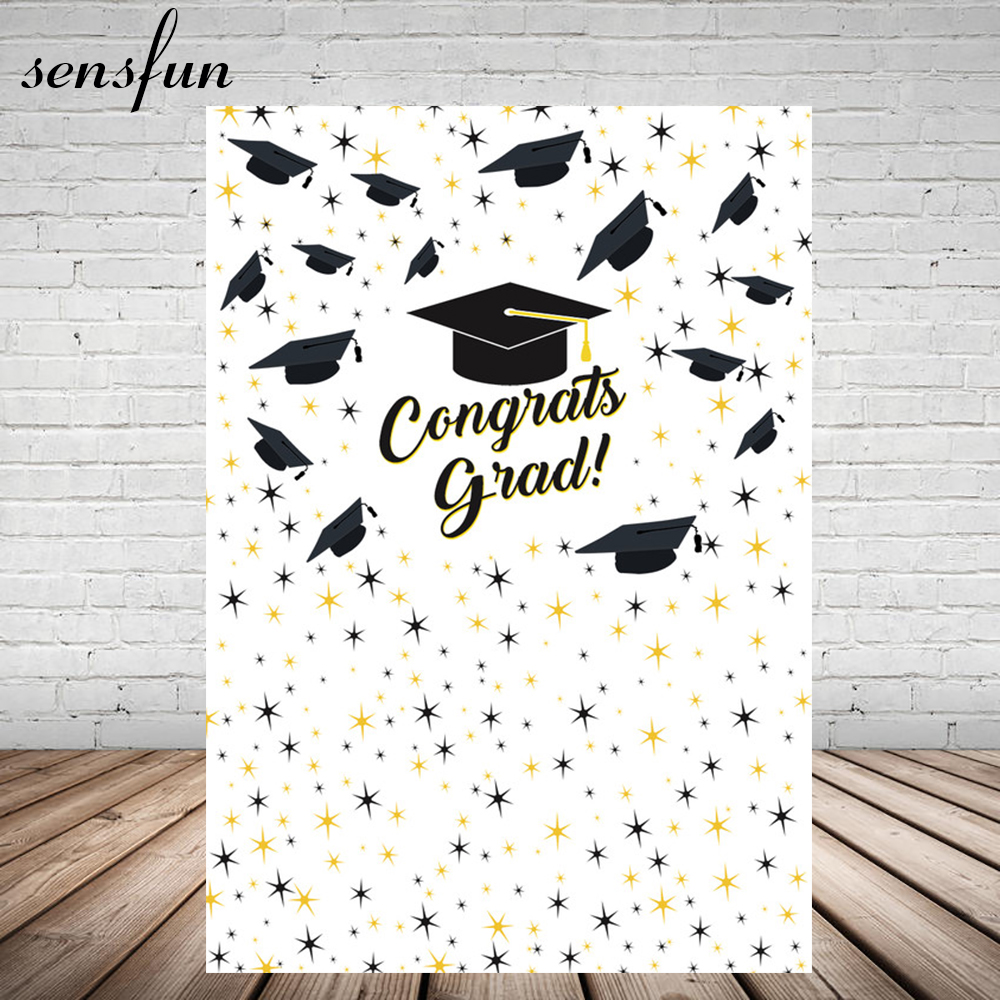 Sensfun Congrats Grad Photography Backgrounds Bachelor Cap Little Stars White Graduation Backdrop 5x7ft Vinyl Do You Want To Buy Some Chinese Native Produce?