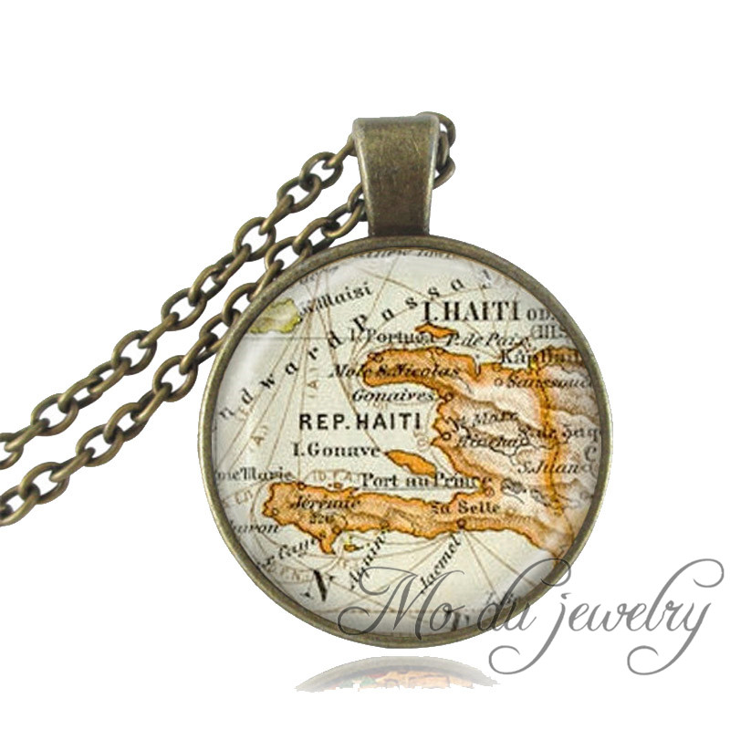 Haiti map necklace Haiti caribbean map jewelry vintage bronze chain long necklace glass cabochon pendant necklace women jewelry
