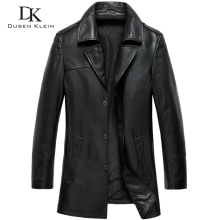 Dusen Klein 2017 New leather Jacket men Mid-long/Black/Slim/Simple Business Genuine sheepskin outwear 61J8821