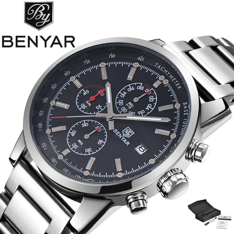 BENYAR High Quality Sport Men Army Quartz Wristwatch Date Chronograph Dial Stainless Steel Band Aviator Watches Reloj masculino men luminous hands watches steel quartz sport wristwatch military dial clock chronograph army rose golden rubber band man watch