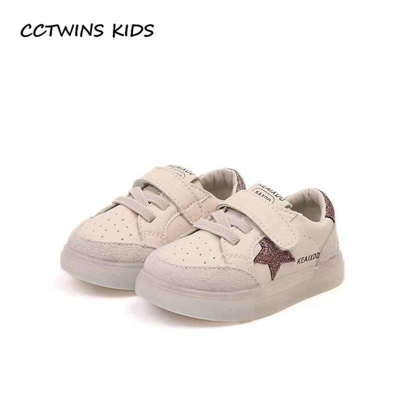 CCTWINS KIDS 2018 Autumn Toddler Pu Leather Shoe Baby Boy Fashion First Walker Children Star Sport Sneaker Girl FW090