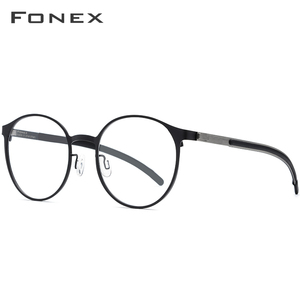Image 2 - FONEX Titanium Alloy Optical Eyeglasses Frame Women Ultralight Round Prescription Myopia Glasses Men Screwless Eyewear 984