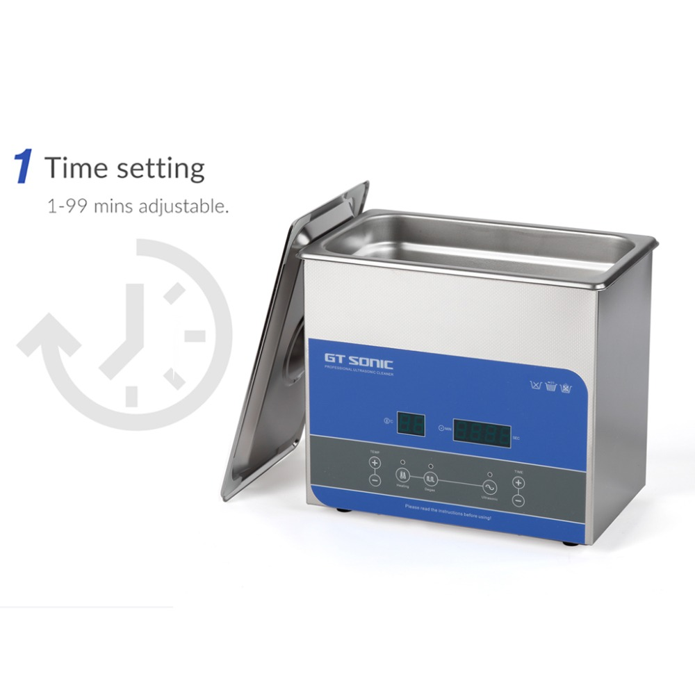 GTSONIC Adjustable Ultrasonic Cleaner Bath For Jewelry Ring And Watches Glasses 18
